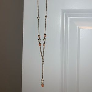Vintage gold peachy and beige shell necklace